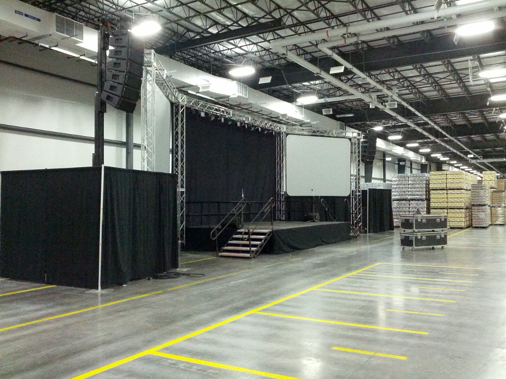 Corp Truss, Screens, Wideline on Lifts